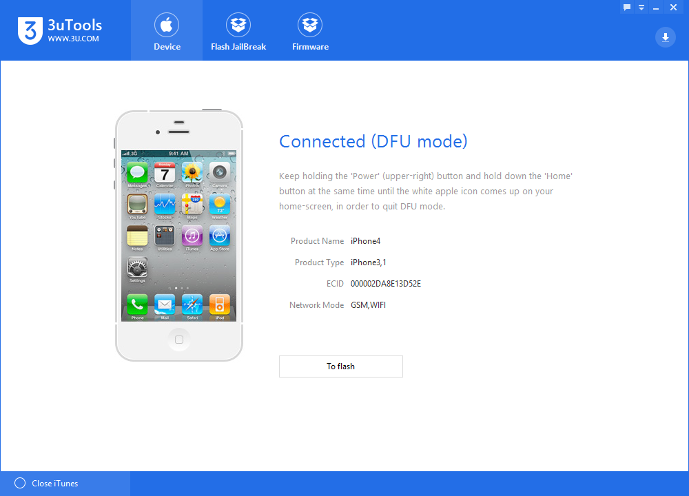 3uTools Downgrades iPhone 4 from iOS7.1.2 to iOS 6.0.1 Tutorial