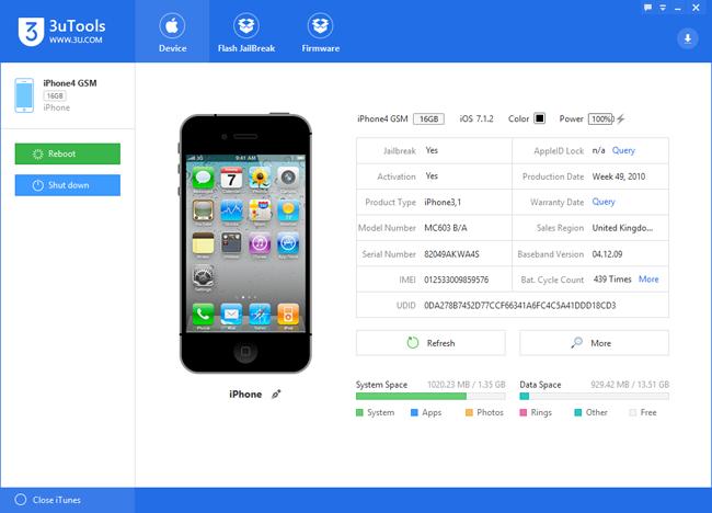 برنامج  لفلاش وجيلبريك وتحميل الفلاشات للأيفون والأيباد 3uTools