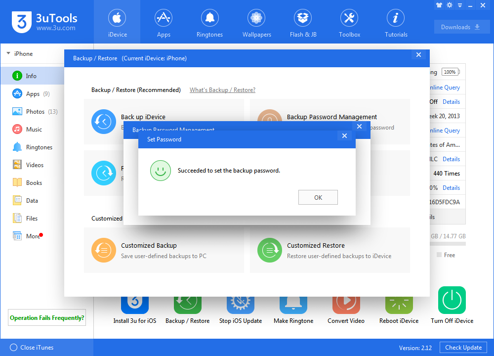 How to Use 3uTools Backup Password Management?