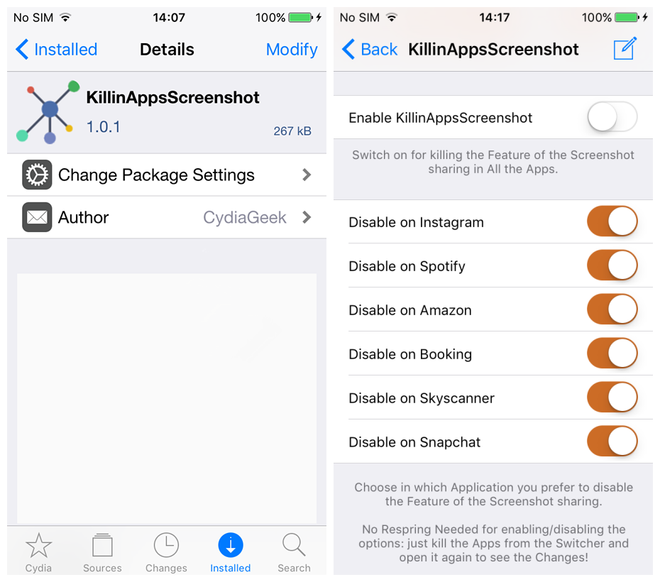KillinAppsScreenshot Disables the Boring Screenshot Feature in Several Apps