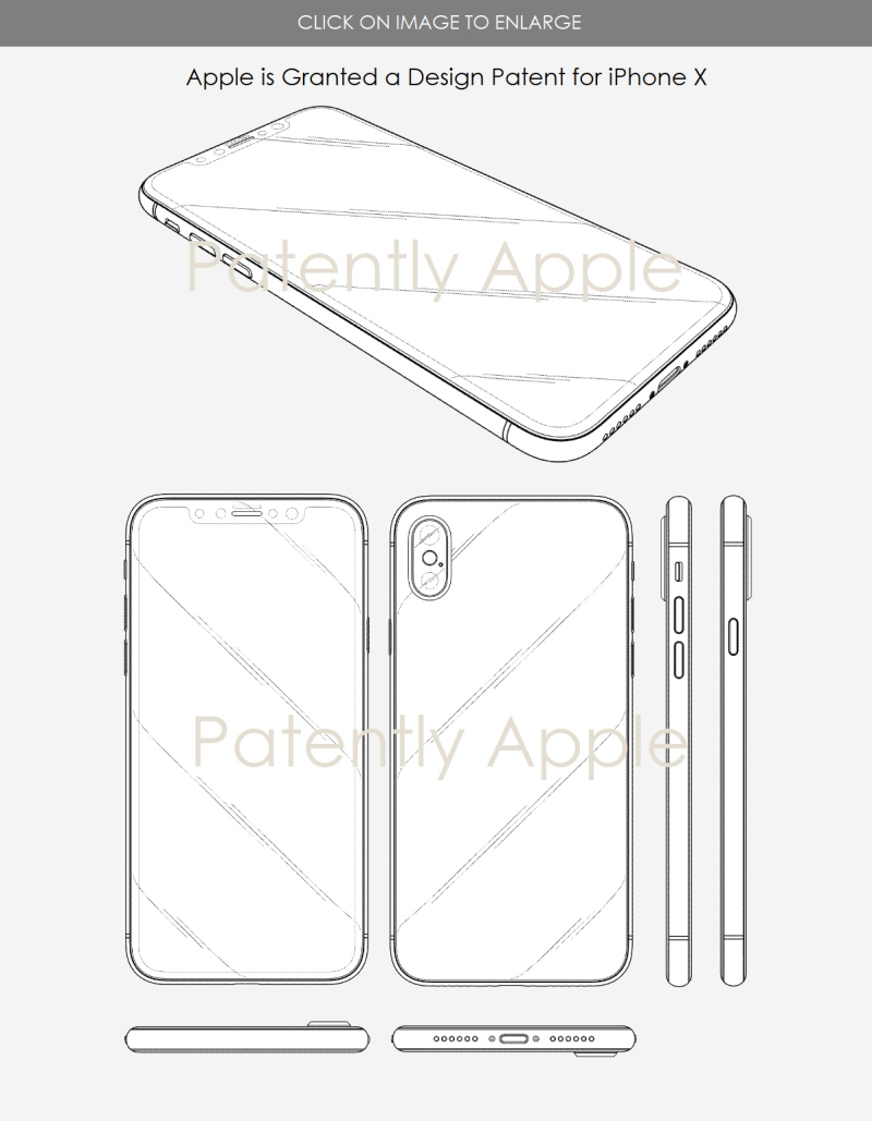 Apple's Wins Design Patent for iPhone X