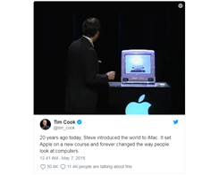 Tim Cook Commemorates 20 years of iMac