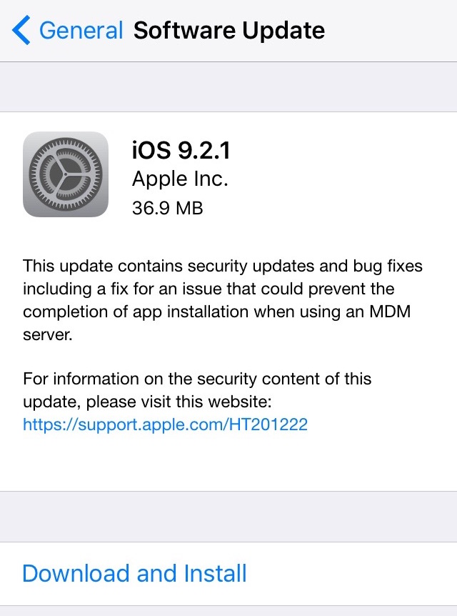 Apple Released the Final version of iOS 9.2.1