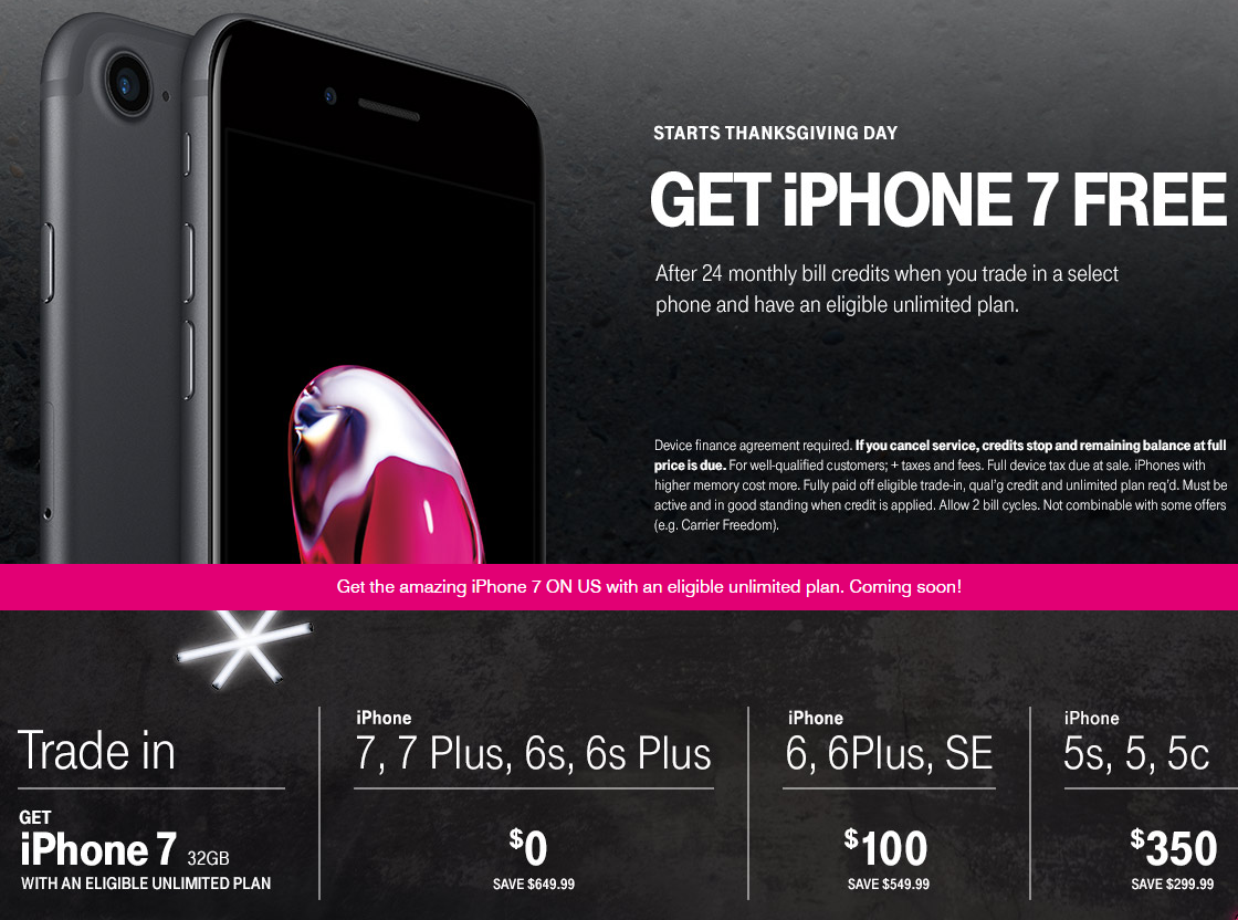 T-Mobile Offers 'Free' iPhone 7 on Black Friday Trade-in Promotion