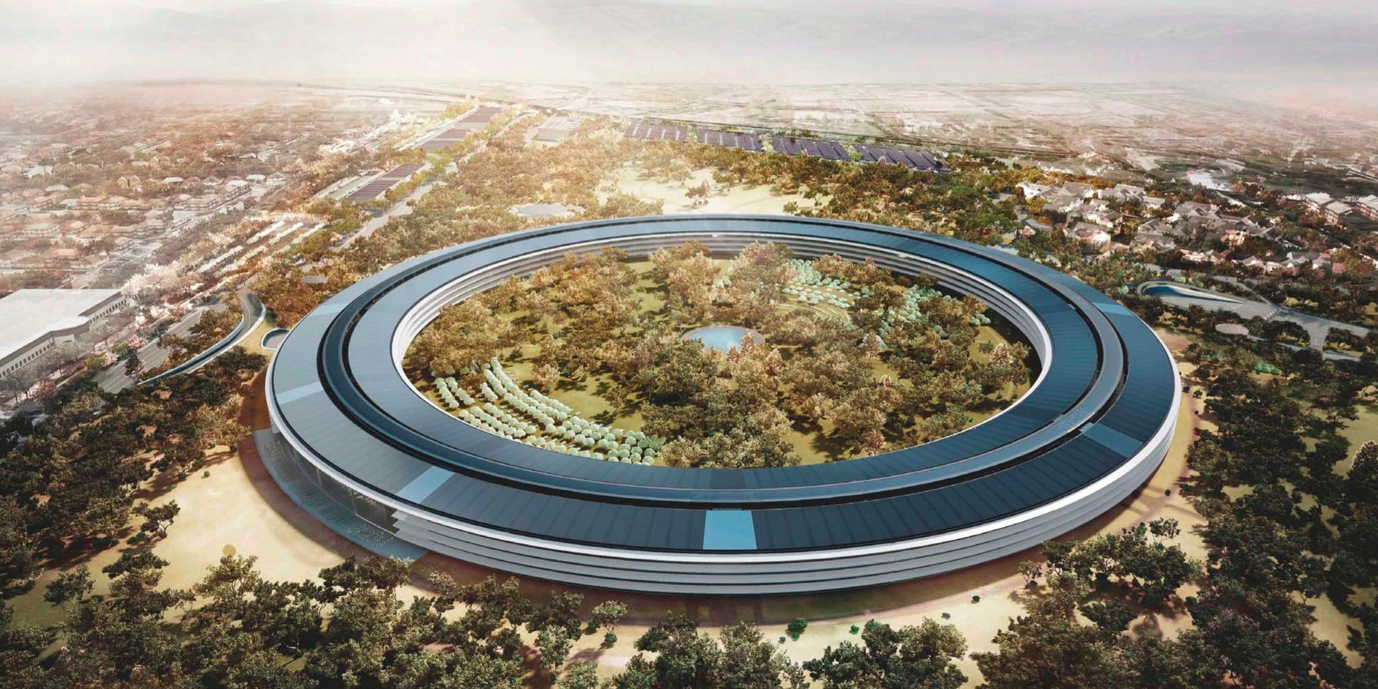 Apple Campus 2 Construction Finishing Up as Glass Installed in Atrium and Landscaping Expands