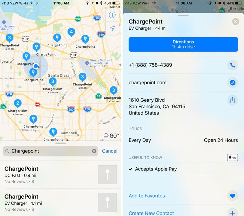 ChargePoint's Electric Vehicle Charging Stations Now Displayed in Apple Maps