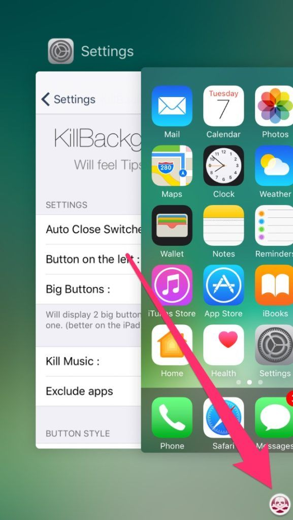 KillBackground10: Close All Apps With One Button in iOS10 System