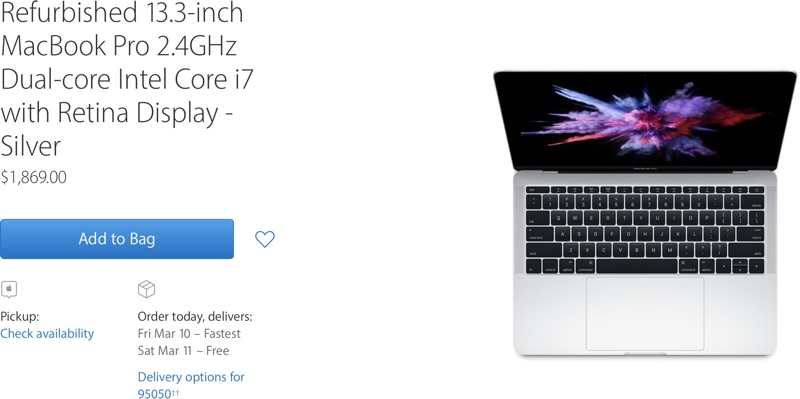 Apple Adds 2016 MacBook Pro Without Touch Bar to Refurbished Store