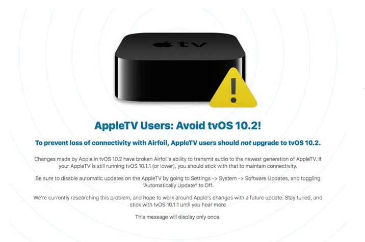 TvOS 10.2 Update Requires AirPlay Hardware Verification