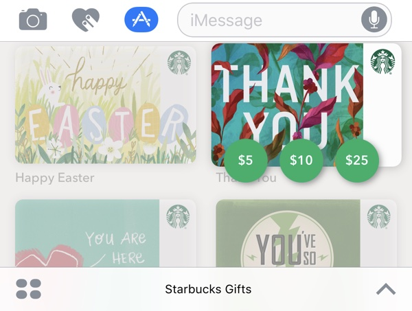 Starbucks App for iOS Gains Support for iMessage Gift Cards