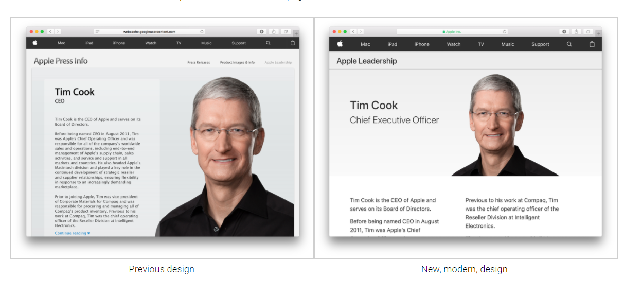 Apple Transitions to Newsroom Portal Updates Executive Bios Page Design
