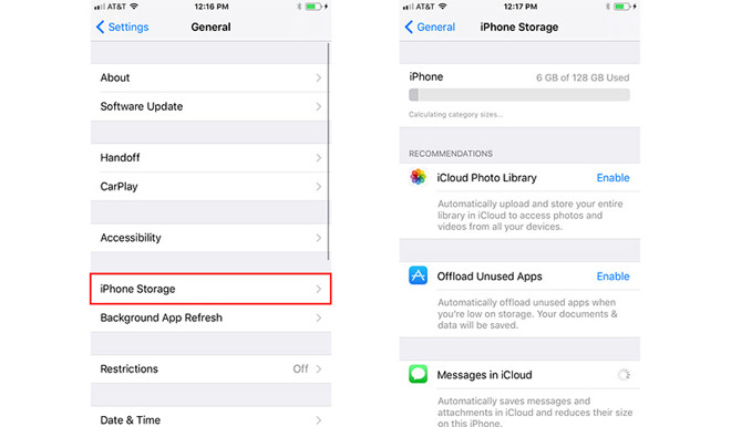 iOS 11 Recommendations Offer Shortcuts to Free up Extra Storage