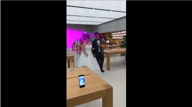 Apple-loving Couple Snap Dream Wedding Photos at Apple Store