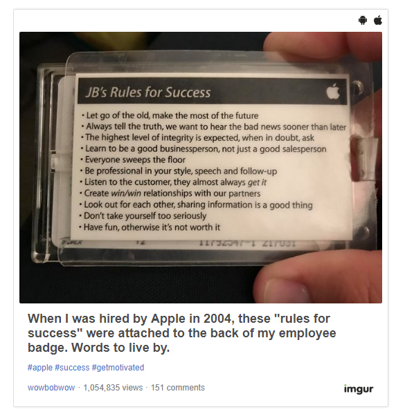 Former Apple Employee Shares The 'Rules For Success' The Company Gave Him