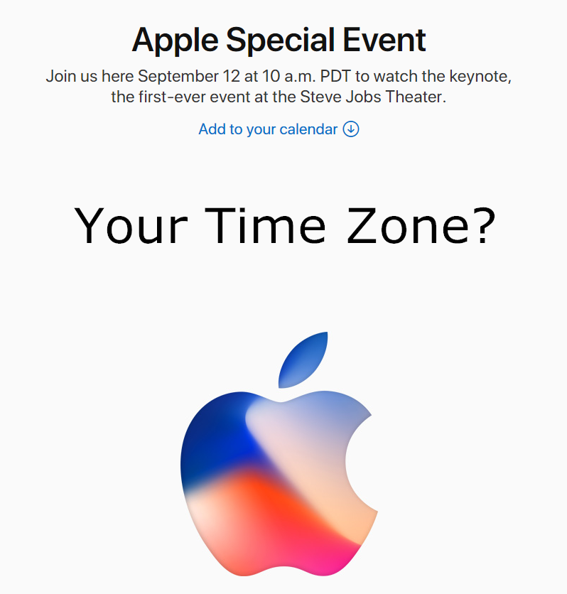 Apple's iPhone X Event Start Time in Your Country