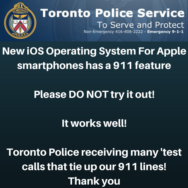 Toronto Police Ask iPhone Users Not to Test iOS 11 Security Feature
