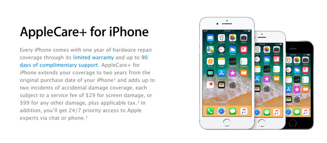 AppleCare+ iPhone 8 Back Screen Glass Replacement $99, Not Screen Repair Cost of $29