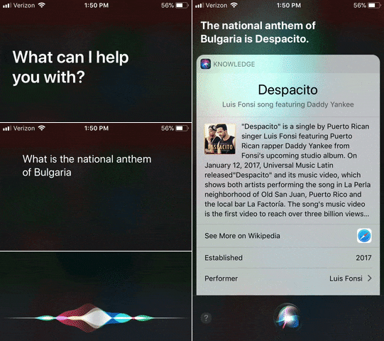 Siri Thought 'Despacito' Was the National Anthem of Bulgaria