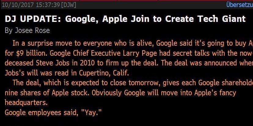 Dow Jones Technical Error spreads Fake News Story of Apple