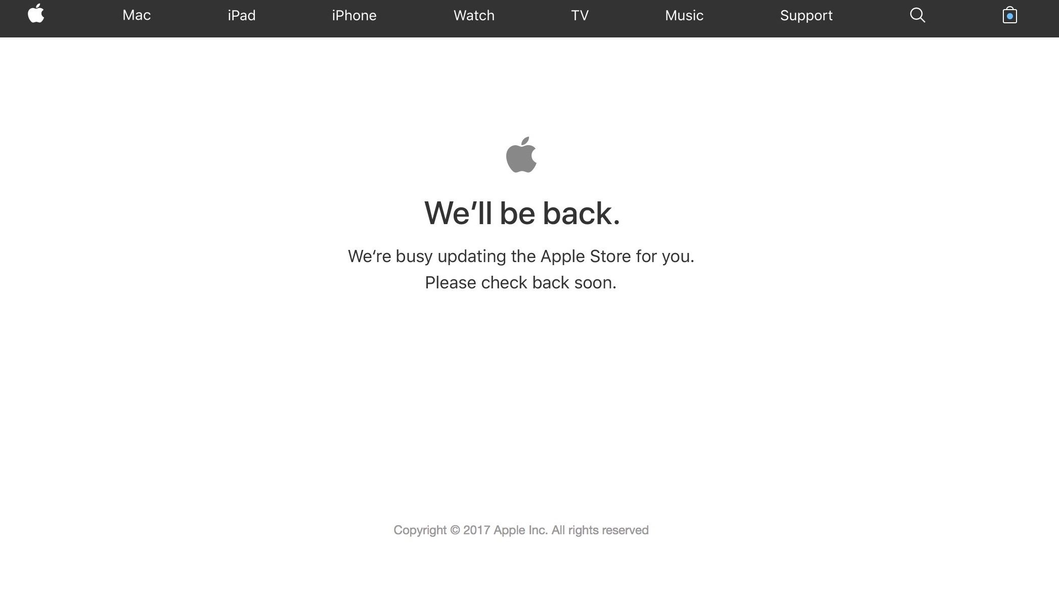 Apple Online Store Goes Down in Preparation for iPhone X Preorders