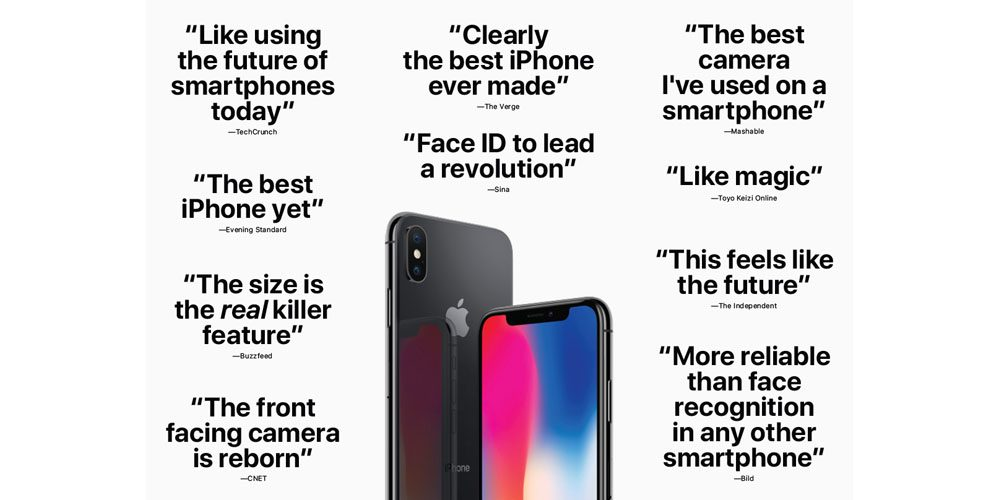 Apple Touts Positive Comments From Early iPhone X Reviews