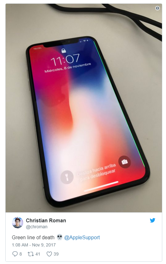 Apple iPhone X Displays showing A Green Line Due to Hardware Defect