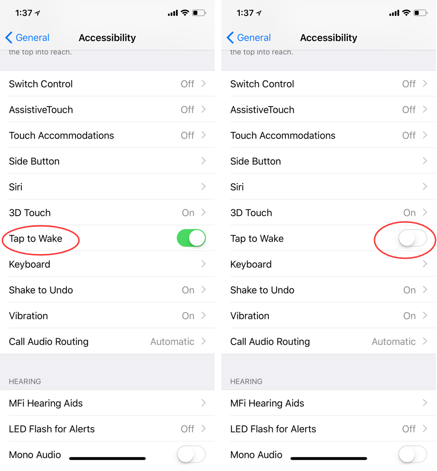 How to Disable Tap to Wake Feature on iPhone X?