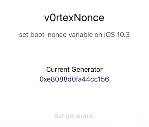 v0rtexNonce - Set Nonce on iOS 10.3-10.3.3 with v0rtex Exploit