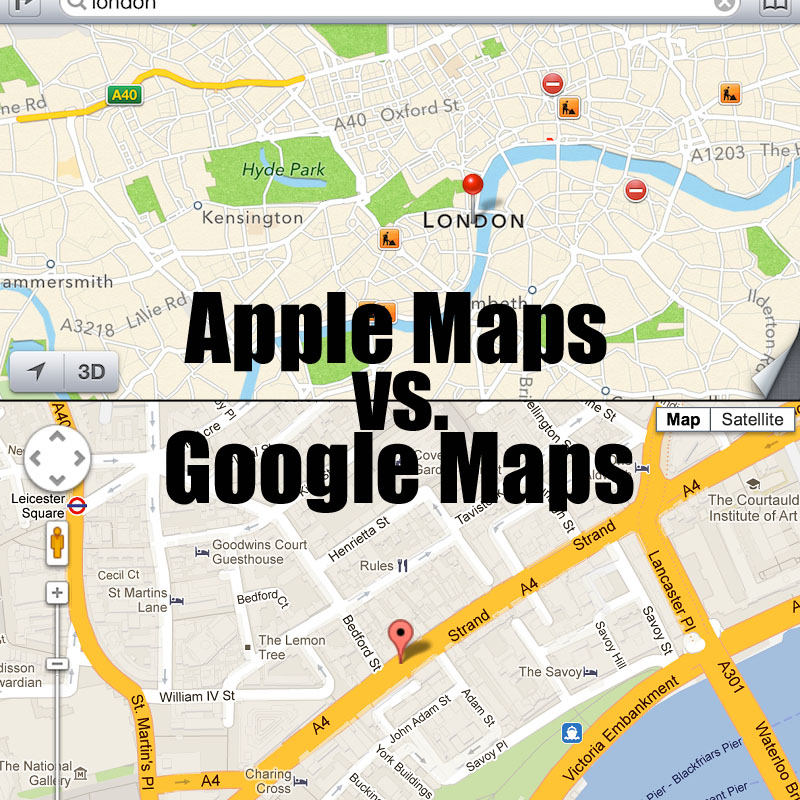 Apple Maps vs. Google Maps: Still Huge Differences