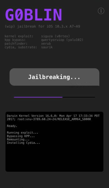 Download G0blin Jailbreak for iOS 10.3-10.3.3 for 64-bit Devices