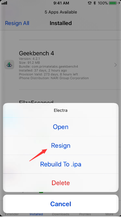 Ext3nder Installer: Re-Sign IPAs Without PC  on iOS 11 Electra Jailbreak