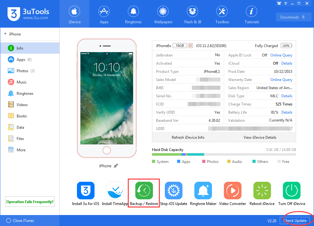 How to Use 3uTools to Back Up Your iPhone Before Installing