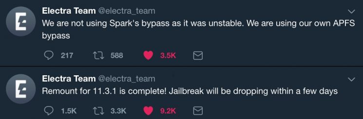 "Electra Team: iOS 11.2-11.3.1 jailbreak tool ""Will be Dropping Within a Few Days"""