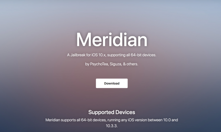 Final Version Of Meridian Jailbreak Released with Full Support for All 64-Bit Devices Running iOS 10