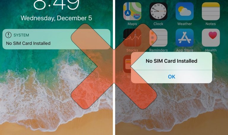 NoSimAlert Hides those Annoying 'No SIM Card Installed' Alerts