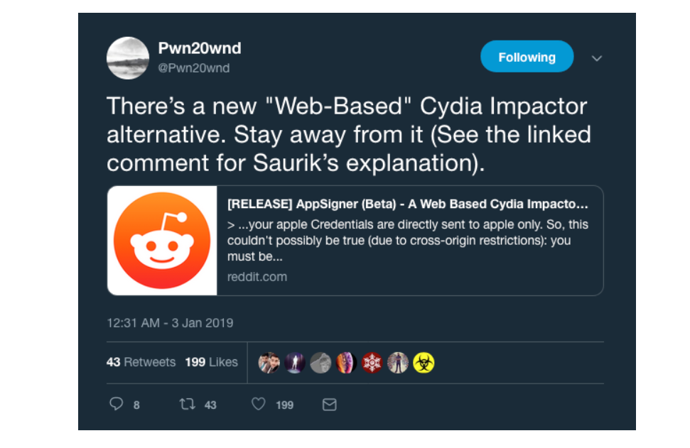 Saurik Warns Against Using 'AppSigner' as Alternative Cydia Impactor
