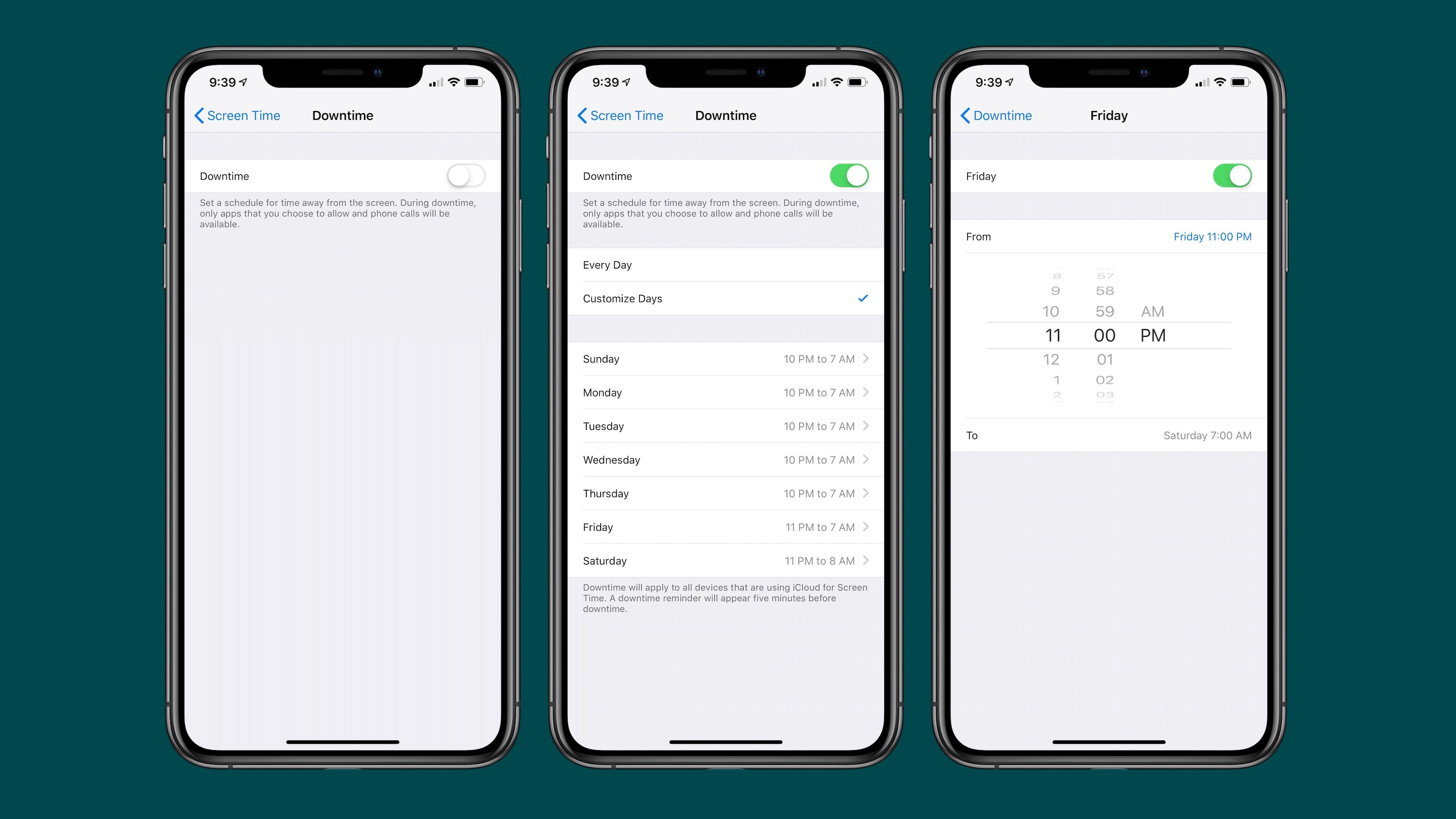iOS 12.2 Beta Allows you to Customize Downtime in Screen Time by days of the week