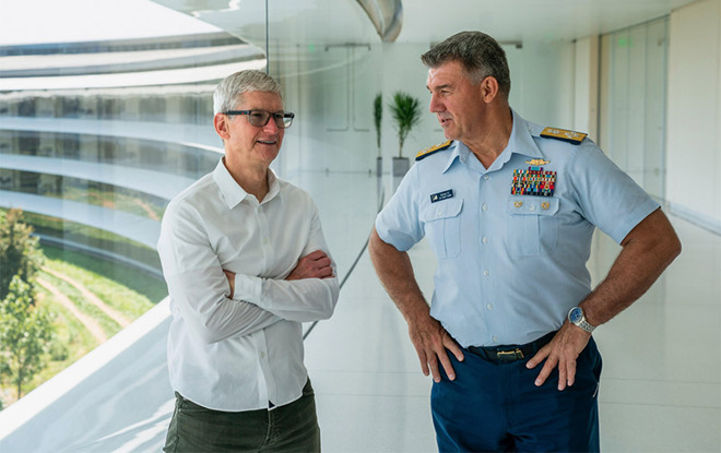 Tim Cook invites Coast Guard Admiral Karl Shultz to Apple Park