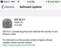 Apple iOS 10.2.1 Is Now Available