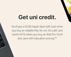 Apple Launches 'Back to Uni' Promotion, Offers Up to $100 Apple Store Gift Card