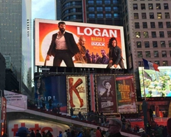 Incredible Poster of Wolverine Logan Painted on iPad Pro Towers Over Times Square