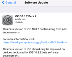 Apple Releases iOS 10.3.2 Beta2 for iOS Developers