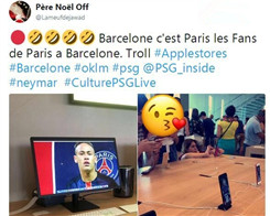 PSG Fan Goes to Unbelievable Lengths in Apple Store to Troll Barca Over Neymar Transfer
