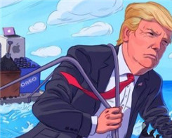 Trump Retweets 'Heroic' Image of Him Dragging Apple Back to US