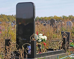 Massive 5′ iPhone Tombstone Appears Over Russian Woman's Grave