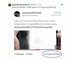 Samsung Tweets Galaxy Note 9 Promo From Twitter for iPhone