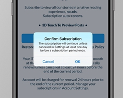 Apple iOS Adds new 'Confirm Subscription' Step for in-app Subscription