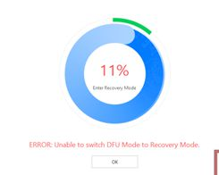 Unable to switch dfu to recovery mode