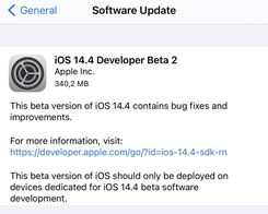 Apple Seeds Second Betas of iOS 14.4 and iPadOS 14.4 to Developers