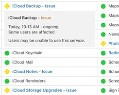 iCloud Drive, Notes, Photos, and iCloud Backup Experiencing Issues